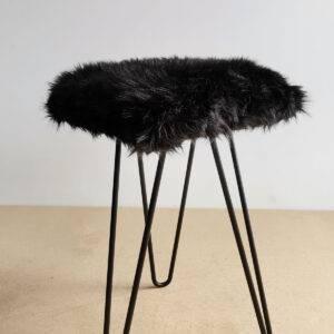 kare siyah peluş puf