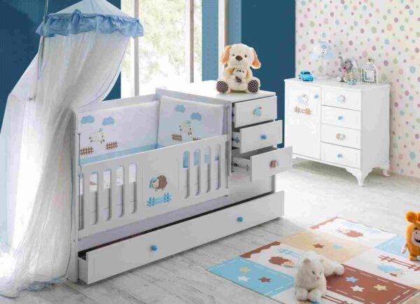 kupon mavi kuzulu bebek odası