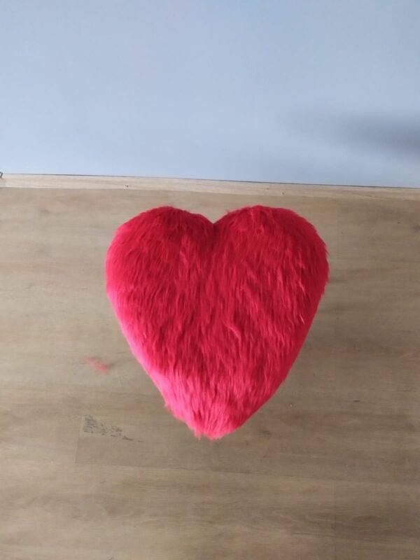 Kırmızı Kalp Peluş Puf