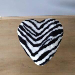 Zebra Kalp Peluş Puf
